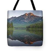 Mountain Reflection, Pyramid Mountain Tote Bag