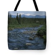 Mountain Stream With Cabin In Evergreen Tote Bag