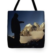 Mountaineers Rest At Their Campsite Tote Bag
