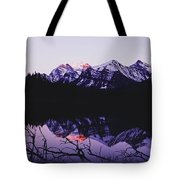 Mountains And Lake At Icefields Parkway Tote Bag