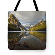 Mountains Reflected In Lake Louise Tote Bag