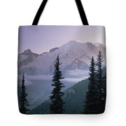 Mt Rainier As Seen At Sunrise Mt Tote Bag