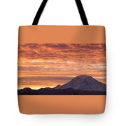 Mt Rainier December Sunrise Tote Bag