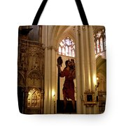 Mural Of Saint Christopher And Baby Jesus Tote Bag by Lorraine Devon Wilke