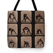 Muybridge Locomotion, Men Wrestling Tote Bag