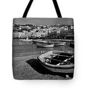 Mykonos Boats Tote Bag