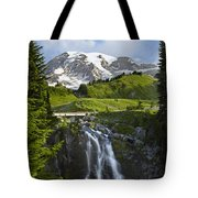 Myrtle Falls And Mount Rainier Mount Tote Bag by Tim Fitzharris