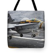 N Fa-18f Super Hornet Lands Aboard Tote Bag