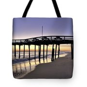 Nags Head Fishing Pier At Sunrise - Outer Banks Scenic Photography Tote Bag