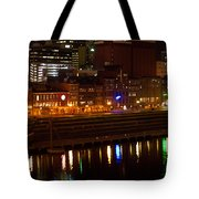 Nashville River Front By Night 1 Tote Bag
