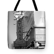 Nathan's Famous At Coney Island In Black And White Tote Bag