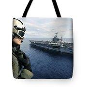 Naval Air Crewman Conducts A Visual Tote Bag