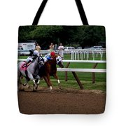 Neck And Neck At Saratoga Two Tote Bag