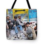 Nepali Labourers At Devraprayag Tote Bag