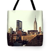 New York City Rooftops And The Empire State Building Tote Bag