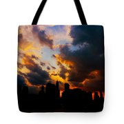 New York City Skyline At Sunset Under Clouds Tote Bag