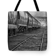 Next Tracks In Black And White Tote Bag