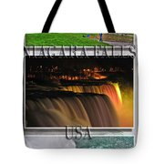 Niagara Falls Usa Triptych Series With Text Tote Bag
