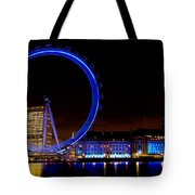 Night Image Of The London Eye And River Thames Tote Bag