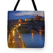 Night Lights Of Charles Bridge Or Tote Bag by Trish Punch