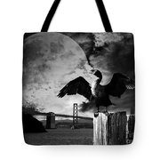 Night Of The Cormorant . Black And White Tote Bag
