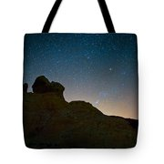 Night Sky Over Valley Of Fire Tote Bag