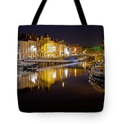 Nighttime Along The River Leie Tote Bag