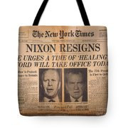 Nixon Resigns: Newspaper Tote Bag