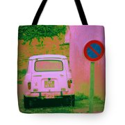 No Parking Sign With Pink Car Tote Bag