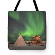 Northern Lights Above Village Tote Bag