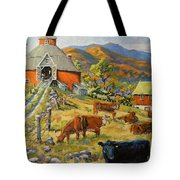 Nostalgia Cows Painting By Prankearts Tote Bag
