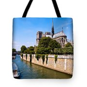 Notre Dame Cathedral Along The Seine River Tote Bag
