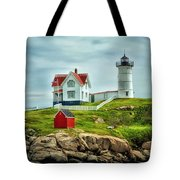 Nubble Lighthouse Tote Bag by Tricia Marchlik
