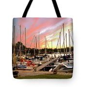 Oak Pt Harbor At Sunset Tote Bag