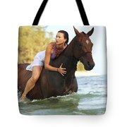 Ocean Horseback Rider Tote Bag
