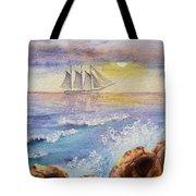 Ocean Waves And Sailing Ship Tote Bag
