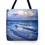 Ocean Waves On Beach At Dusk Tote Bag