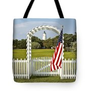 Ocracoke Lighthouse July 4th Tote Bag by Bill Swindaman