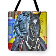 Officer And Black Horse Tote Bag