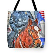 Officer On Brown Horse Tote Bag