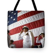 Officers Render Honors During A Change Tote Bag