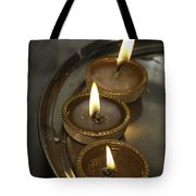 Oil Lamps Kept In A Plate As Part Of Diwali Celebrations Tote Bag