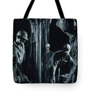 Oilmen Covered In Mud Pull Up A Drill Tote Bag