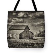 Old Barn After The Storm Black And White Tote Bag
