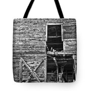 Old Barn Door In Black And White Tote Bag