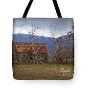 Old Barn In Southern Oregon With Text Tote Bag