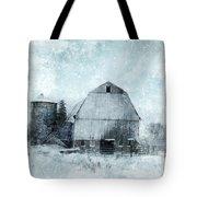 Old Barn In Winter Snow Tote Bag