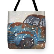 Old Blue Chevy Winter Storm Tote Bag