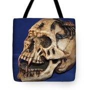Old Bone's Skull On Blue Cloth Tote Bag