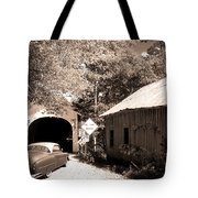 Old Car Older Barn Oldest Bridge Tote Bag